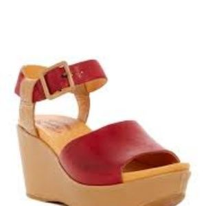 Red Kork Ease Keirn Platform Wedge Sandal sz 38 8